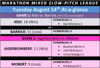MARATHON MIXED SLOW-PITCH – August 14th