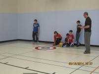 Holy Angels Students Curling Practice At School