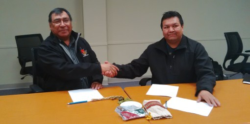 ‎Chief Cornelius Wabasse of Webequie First Nation and Interim Chief Bruce Achneepineskum of Marten Falls First Nation. Submitted photo.