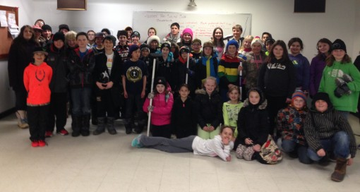 Grade 5 through 8 students from St. Martin School and Ecole Franco-Terrace in Terrace Bay and Holy Angels School in Schreiber enjoy a day of curling, cards and socializing at the Terrace Bay Curling Club. Photo St. Martin School