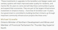 Greenstone and Nipigon to Receive Funding for Wastewater Improvement
