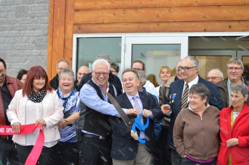 Dignitaries cut the ribbon at official opening of Beardmore Multi-Purpose Centre. Supplie photo.