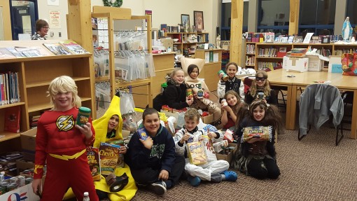 St. Martin's students ready to Trick or Eat for the Harvest Cupboard Foodbank. Photo StMS