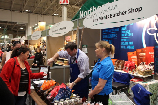 Samples of Bay Meats gluten-free beef jerky and pepperettes being gobbled up at the 2015 RAWF. George Noonan and Cindy Sale from the Thunder Bay Butcher Shop continue to find success at the FedNor-supported Northern Ontario Agri-food Pavilion. Supplied photo.