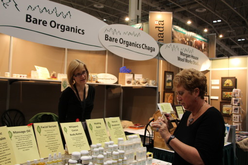 Karen Kerk of Bare Organics (Thunder Bay) gives a Royal visitor the bare facts about her organic skincare products.  Supplied photo.