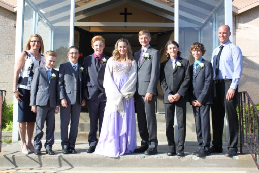 Holy Angels School Grade 8 graduates. Picture left to right are:
