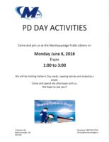 PD Day at Manitouwadge Public Library + Book Club Update