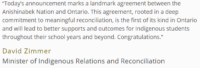 Ontario and Anishinabek Nation Sign Historic Education Agreement